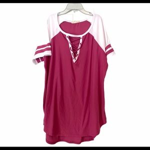 No Comment Pink White 3X Plus Size Jersey Tee